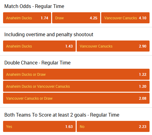 Anaheim - Vancouver online hockey betting