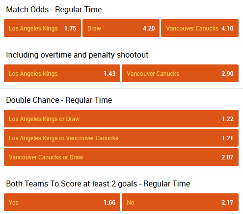 Los Angeles - Vancouver betting odds